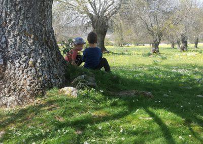 dos niños sentados a la sombra de un árbol en un día soleado con Aúlla, grupo de juego en Moralzarzal
