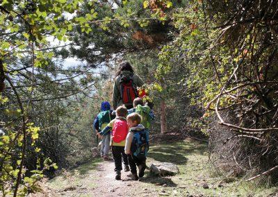 saliendo del bosque, con el grupo de juego de Aúlla, en Moralzarzal